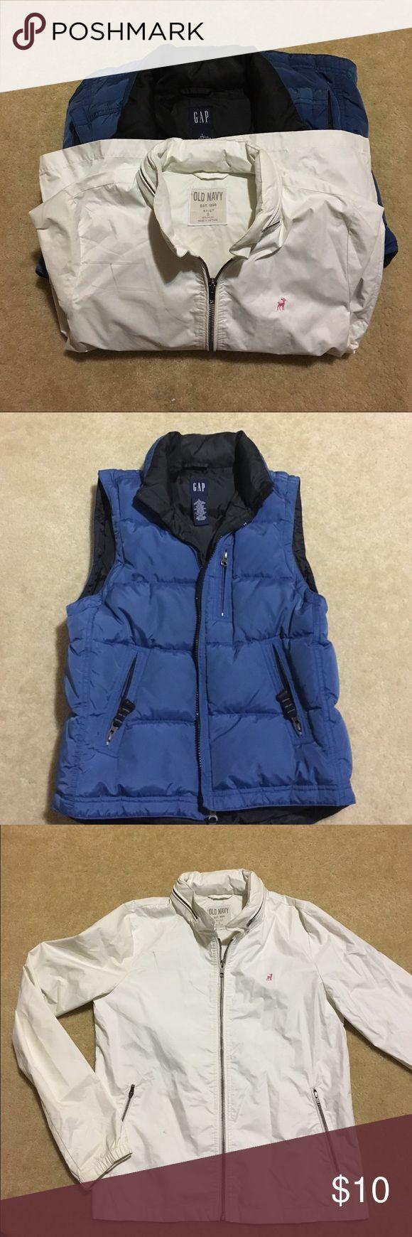 💥💥2/Gap blue vest+Old Navy rain jacket with hood Gap blue vest+Old Navy rain jacket with hood Size S GAP Jackets & Coats Utility Jackets