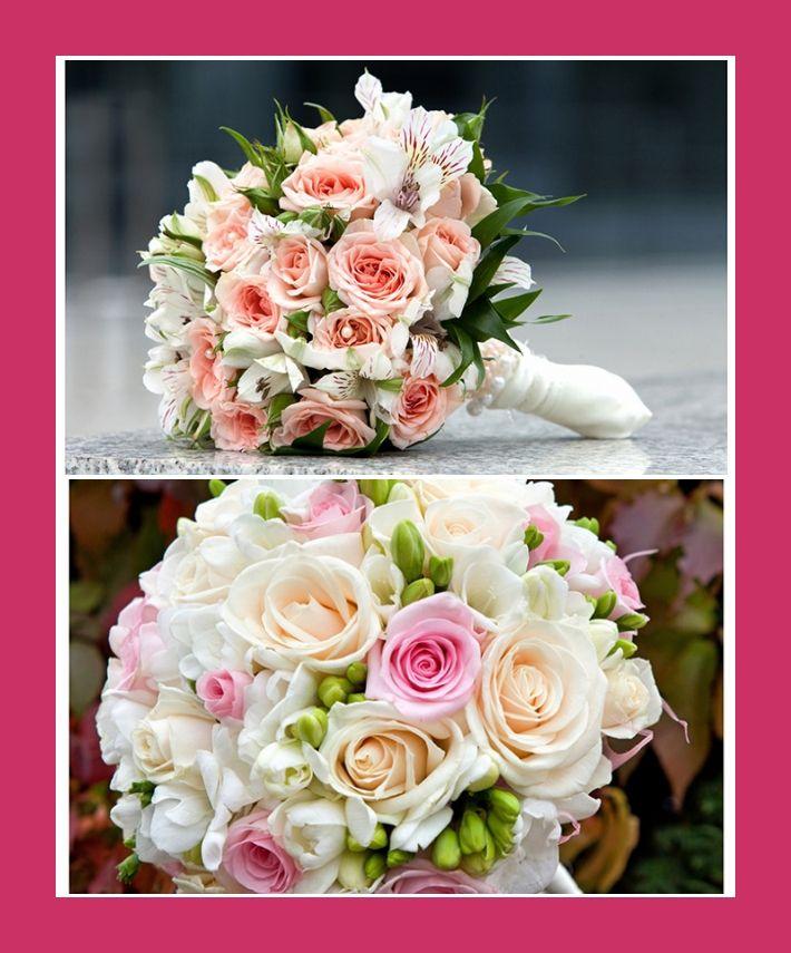 Hochzeitsstrauß hellrosa rosa weiß mit Inka-Lilien, Rosen, Amaryllis
