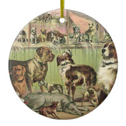 #Vintage Dogs No. 1 Ceramic Ornament - #Xmas #ChristmasEve Christmas Eve #Christmas #merry #xmas #family #holy #kids #gifts #holidays #Santa