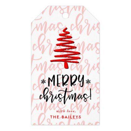 Typography Merry Christmas Gift Tags - merry christmas diy xmas present gift idea family holidays