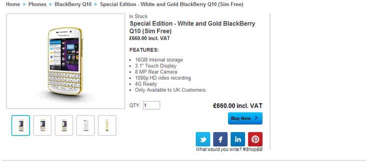 UK customers can now purchase the White and Gold BlackBerry Q10 via shopBlackBerry - http://blackberryempire.com/uk-customers-can-purchase-white-gold-blackberry-q10-shopblackberry/ #BlackBerry #Smartphones #Tech