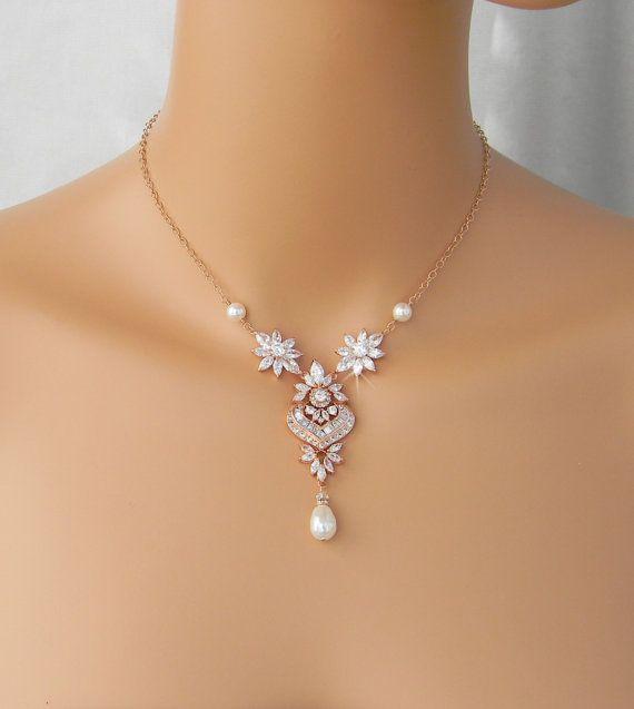 Zurück Drop Halskette Hintergrund Braut Halskette Rose Gold