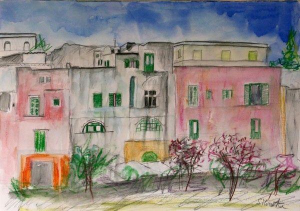Titolo: Particolare di Procida, Tecnica: Mista su carta, Dimensione: 30x40 cm, Artist: Silvio Mazzotta
