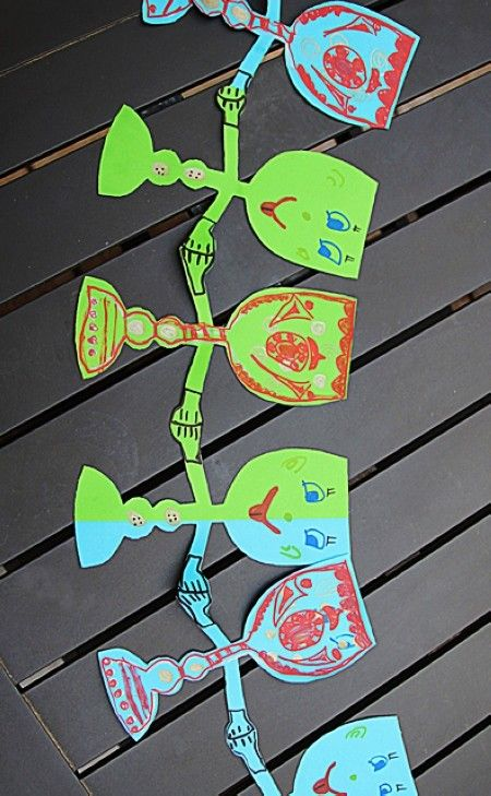 Passover Dancing Wine Goblet Paper Chain, DIY Passover Crafts for Kids, Holiday Printable Crafts