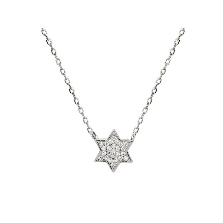 "Fronay Collection Rhodium Plated Silver Mini Star of David Pendant Necklace, 15.5"" +1.5"""