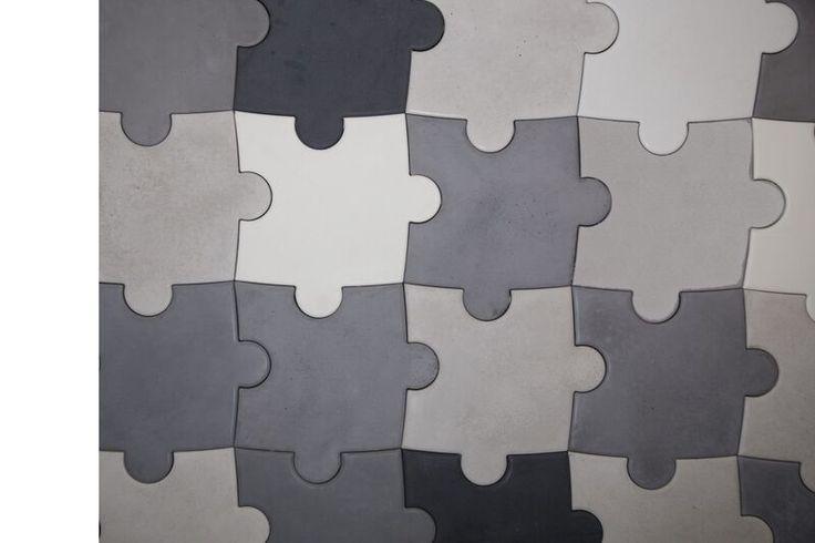 Płyta betonowa 3D - Bettoni - Puzzle - czarna