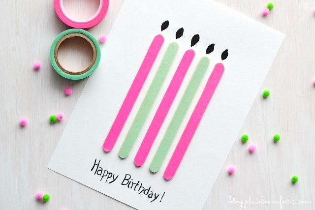 Los niños podran reciclar los palitos de helado para crear una tarjeta de cumpleaños alegre y colorida!