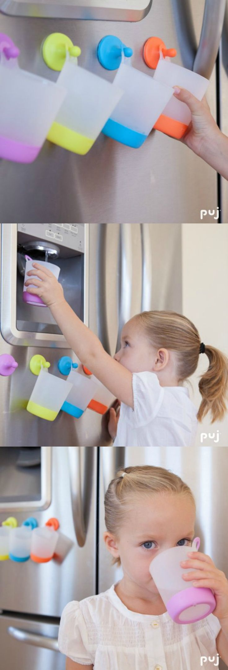 GENIUS! I got so sick of washing allllll the dirty cups my kids grab throughout the day, but I hate having extra cups on the counter. This is the perfect solution. They're low enough that my littles ones don't have to ask for help. AND there's a different color for each kid too so no confusion about whose is whose. {aff}