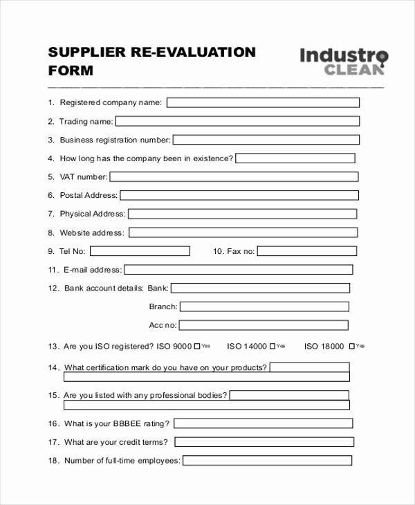 Sample Vendor Performance Evaluation Form Performance Evaluation
