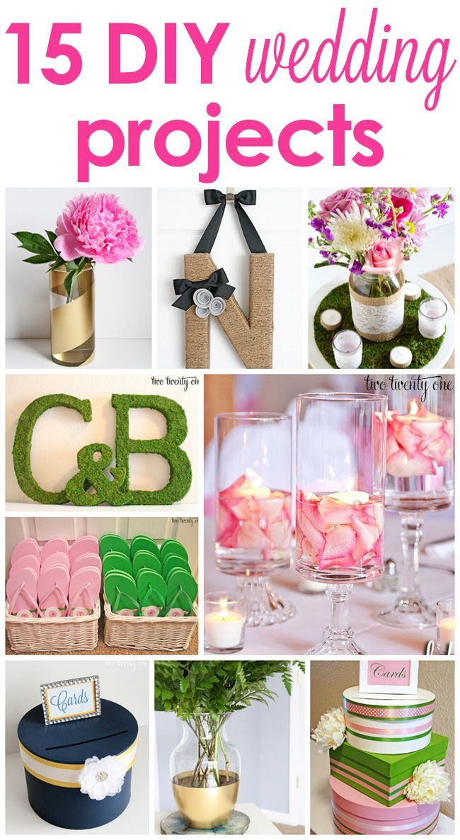15 GREAT budget-friendly DIY wedding projects!  Many can double as decor after the wedding!