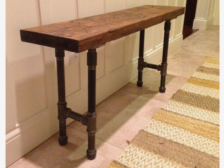 Industrial Urban Loft Wood Entry Or Sofa Table With Pipe Legs Look Custom By