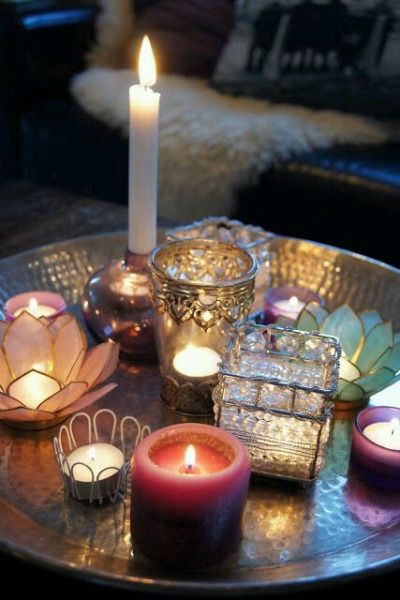 An eclectic tray of candles                                                                                                                                                     More