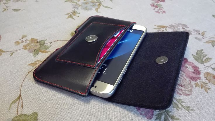 Simple phone pouch mount on belt with card pocket - made of genuine leather
