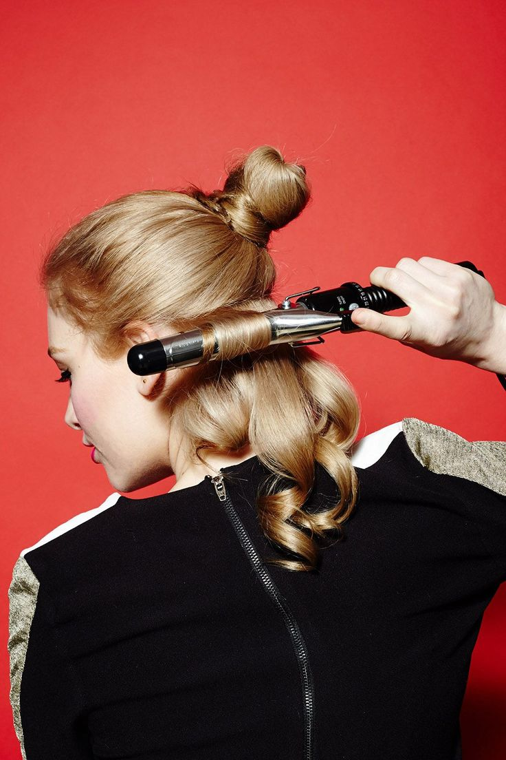 """1 Curling Iron, 5 Gorgeous DIY 'Dos  #refinery29  http://www.refinery29.com/curling-iron-hairstyles#slide-5  Then, it's time to """"flat curl"""" your hair, which means you're going to hold the curling iron horizontally. Take 1/2-inch horizontal sections of hair and lay them flat on the barrel of your curling iron as you wrap. Continue throughout your hair. ..."""