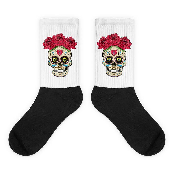 Sugar Skull With Roses - Black Foot Socks