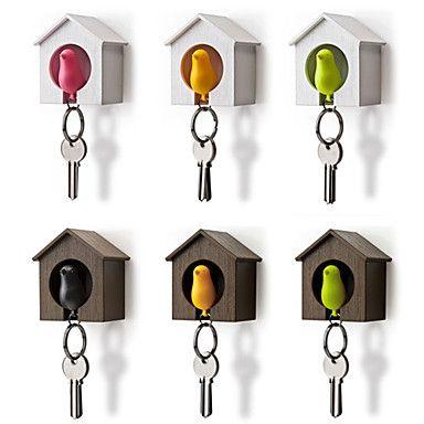 Bird Nest Sparrow House Key Chain Ring Chain Plastic Whistle Wall Hook Holders (Random Color) 7*5*8 cm 2016 - $4.99