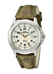 Timex Men's T499539J Expedition Metal Field Green Leather Strap Watch