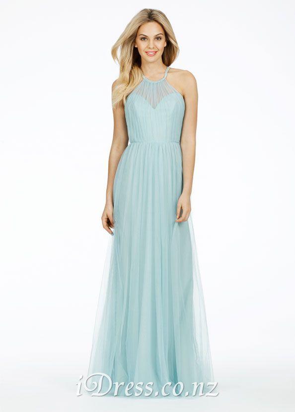 бледно-голубые иллюзии милая ruched холтер длинные платья невесты платье