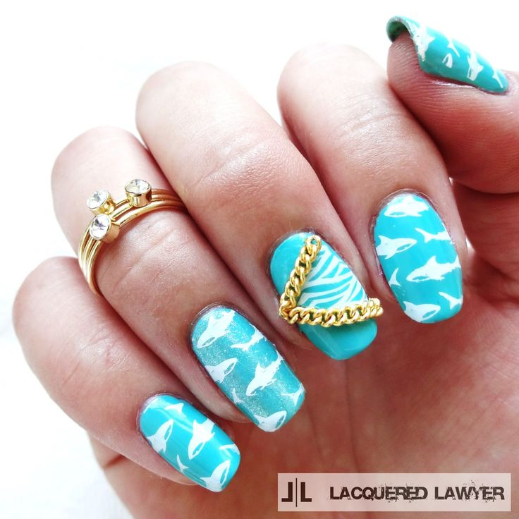 Lacquered Lawyer | Nail Art Blog: Shark Shiver | Shark nail art using Bundle Monster stamping.  Gold chain from Born Pretty Store...use coupon code GHLQ10 for 10% off.