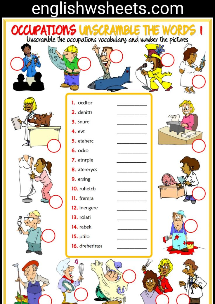 jobs esl printable unscramble the words worksheets for kids jobs occupations professions. Black Bedroom Furniture Sets. Home Design Ideas