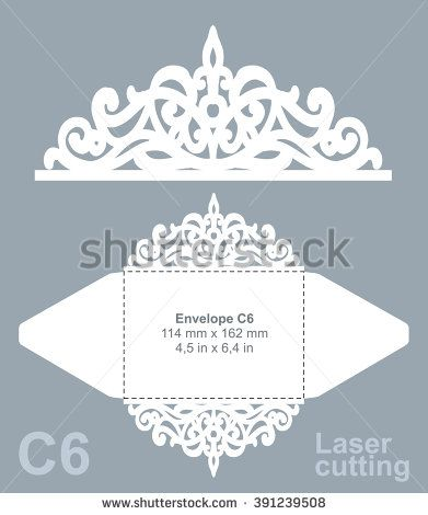 Vector die cut envelope template for laser cutting. Invitation envelope C6. - stock vector