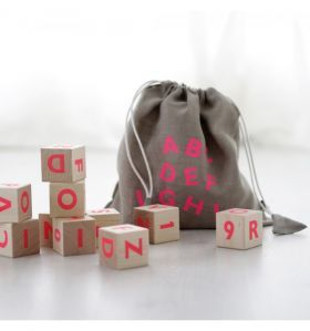 Alphabet Blocks | Neon Pink by Ooh Noo #alphabetblocks #woodentoys #woodendecor #nursery #kidsroom #oohnoo #woodenblocks