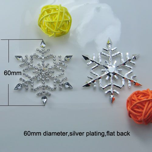 (L0459) free shipping  wholesale 20 pcs/lot, rhinestone embellishment,snowflake shape,60mm diameter