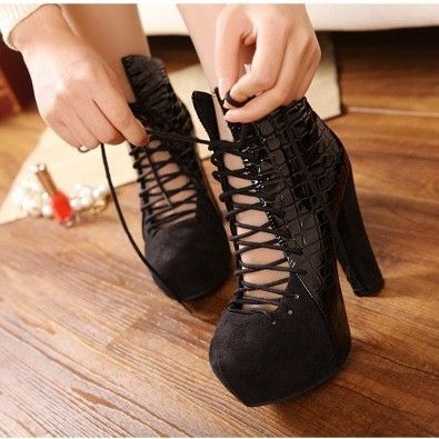 High heels boots leather chunky boots