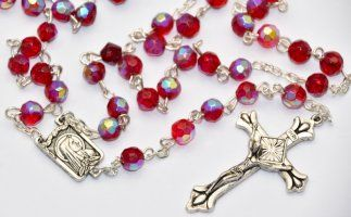 Ruby Crystal Rosary Beads.