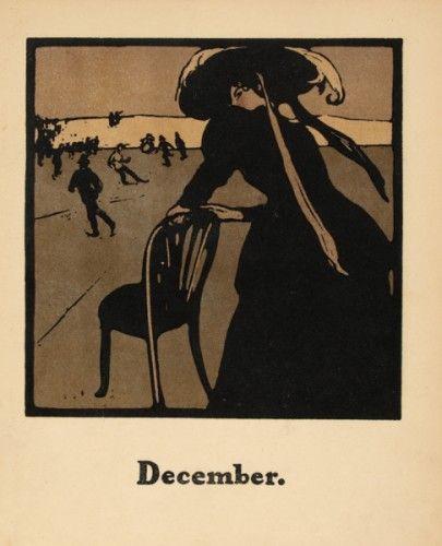 NICHOLSON, William. December [skating]. #sports #vintage #lithograph #winter