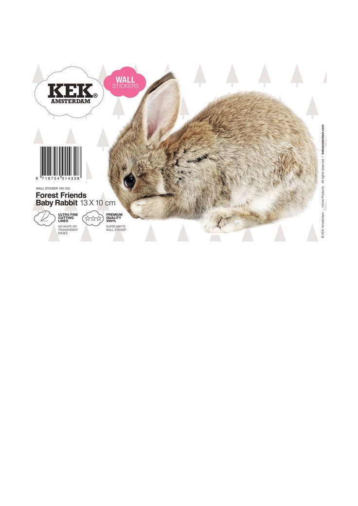 Muursticker van een schatttig konijntje Forest Friends Baby Rabbit.