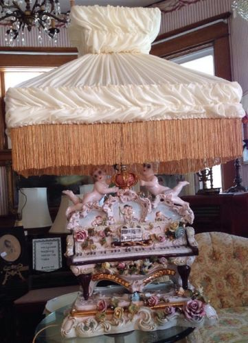 Massive Gorgeous Vtg Capodimonte Piano Cherub And Roses