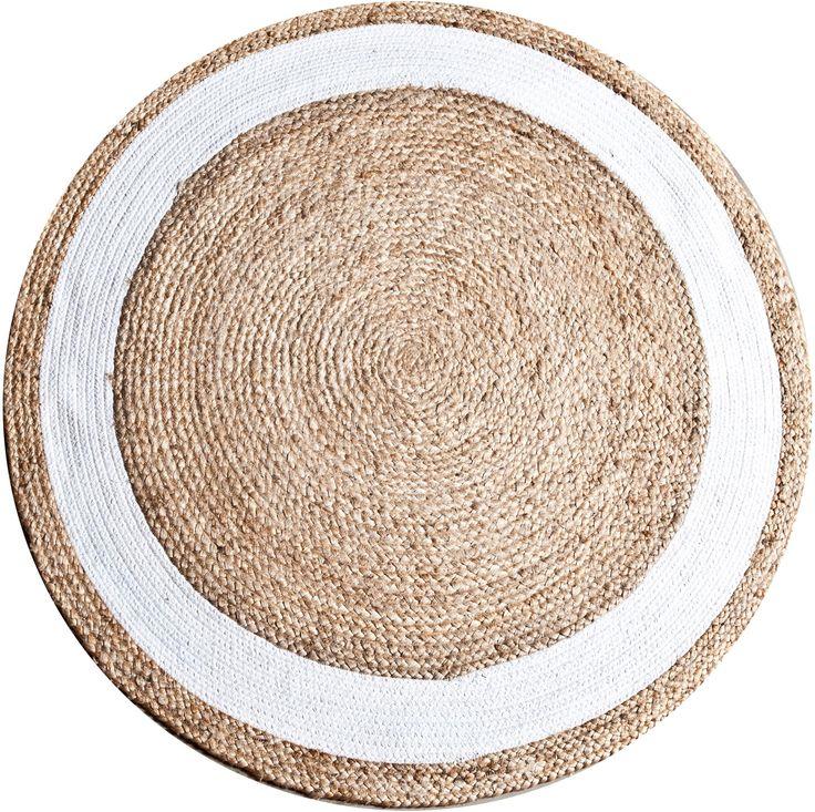 Jute round vloerkleed wit
