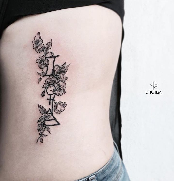 Gemini, mercury, and air; wrapped with lily of the valley. #ribtattoo #gemini #tattoo