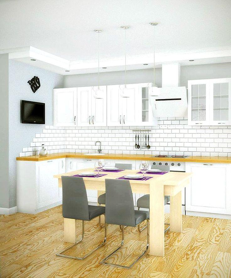 Плитка на фартук и белая кухня