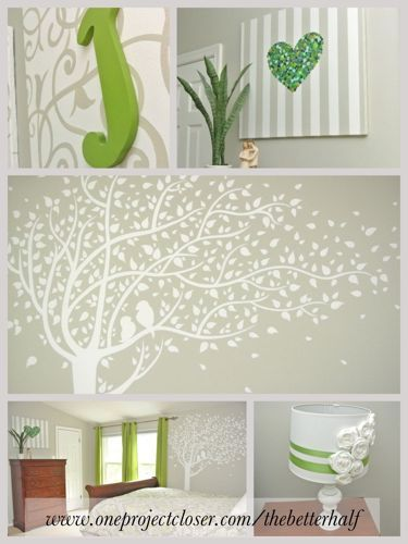 more for kids than master...Love the gray, white, and kelly green. hand painted tree Button heart canvas DIY canvas DIY flower lampshade