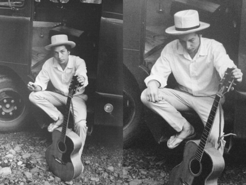 Bob Dylan outside his Byrdcliff home in Woodstock, 1968.