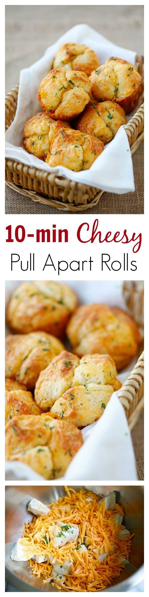 Easy Cheesy Pull-Apart Rolls – 10 mins pull-apart rolls recipe that is loaded with cheddar cheese and butter, soft, fluffy, and super yummy | http://rasamalaysia.com /familyfresh/