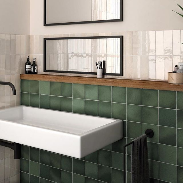 Square Tiles Are The Perfect Alternative To The Classic Subway And Add A Layer Of Interest To Any Space You Use Them In Bathrooms Remodel Green Bathroom Home