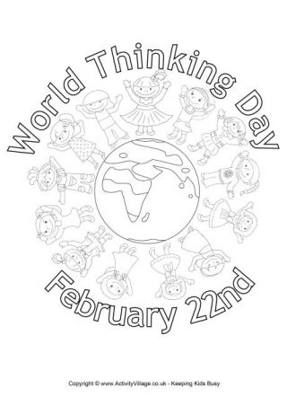 World Thinking Day Colouring Page. Tons of awesome info on what World Thinking Day is and lots of printables