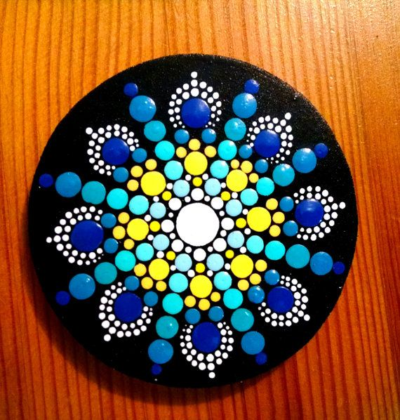 Wood Circle Magnet~ Blue & Yellow Flower Mandala~ Hand Painted by Miranda Pitrone~ Dot Art Pointillism Kitchen or Office Decor