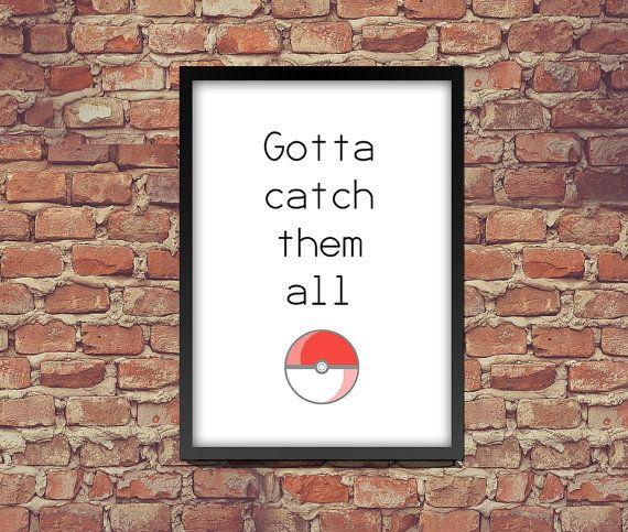 Poster afdrukken Gotta hen alle Pokémon te door CustomKiwiShop