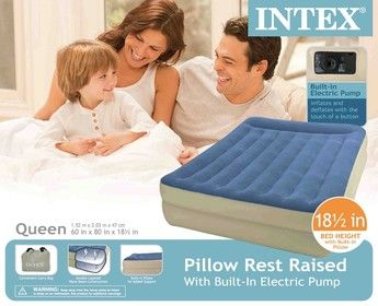 new queen intex pillow rest raised air mattress 18 inches tall and