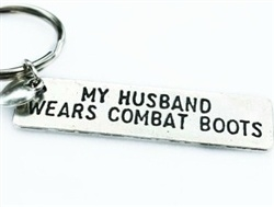 My husband wears combat boots keychain, support the troops! Army wife, Navy wife, Airforce Wife, Marines Wife, Milso, Military Wife, Love
