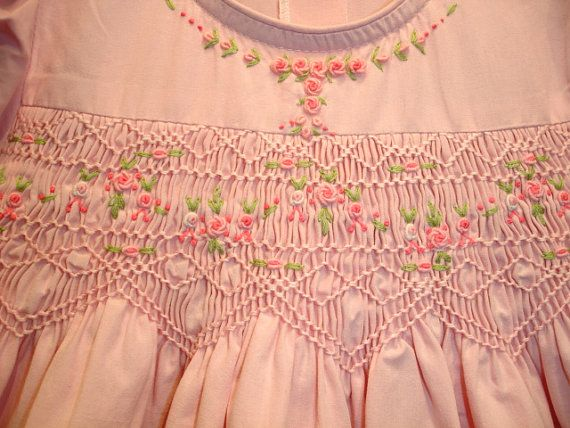 New boutique design hand embroidered smocked Dress - Size 3 4 5 6 Blush Pink