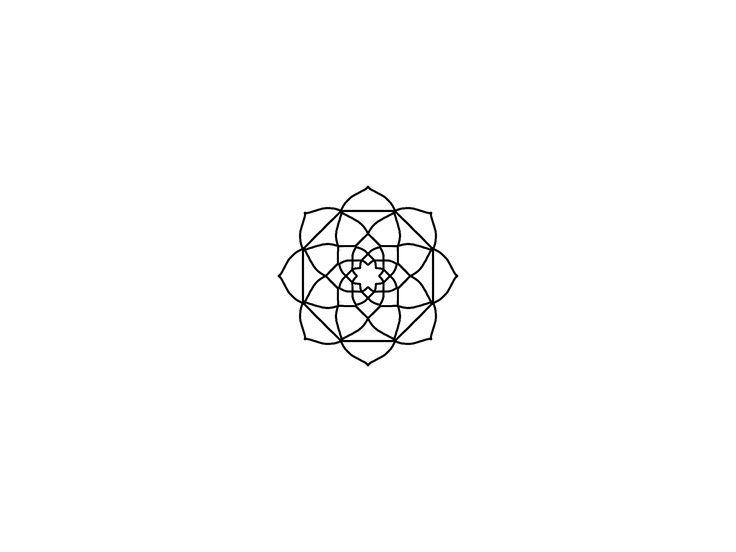 Geometric blackwork mandala Flower. Linework design.