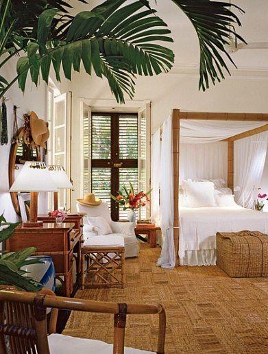 Ralph Lauren island master bedroom Love the banana leaf matting, mosquito netting, plantation shutters, and crisp white bedding.
