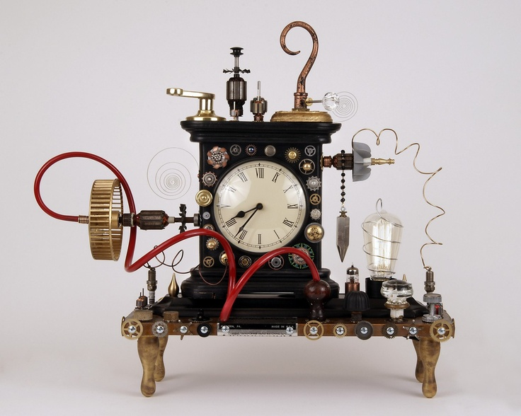 Steampunk found object clock assemblage antique mantle clock via etsy making our - Steampunk mantle clock ...