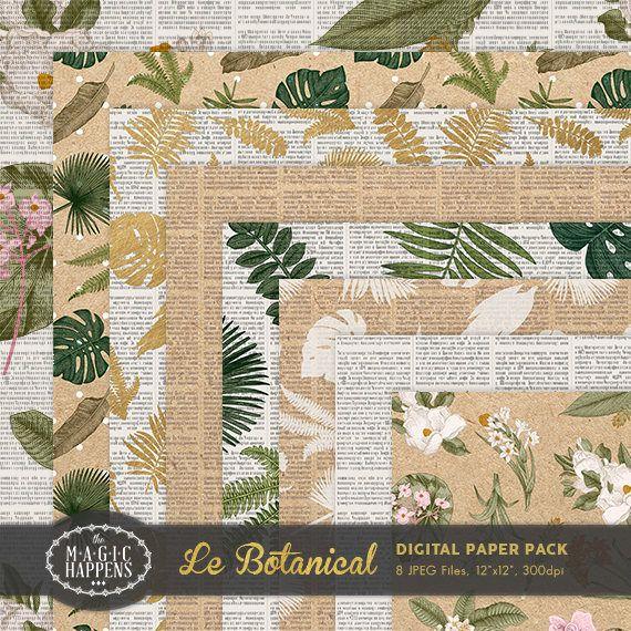 Botanical Digital Paper Monstera Paper Vintage Floral
