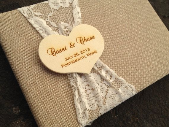 Rustic Guest Book, Burlap and Lace, Engraved Heart, Personalized, Flowers, Country Wedding, Barn